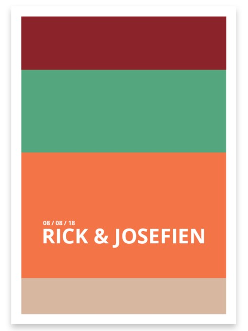 Trouwkaart // Digitale download // Drukklaar // Color blocking // Simpel // Minimalistisch // Groen // Oranje // Typografie // Stoer
