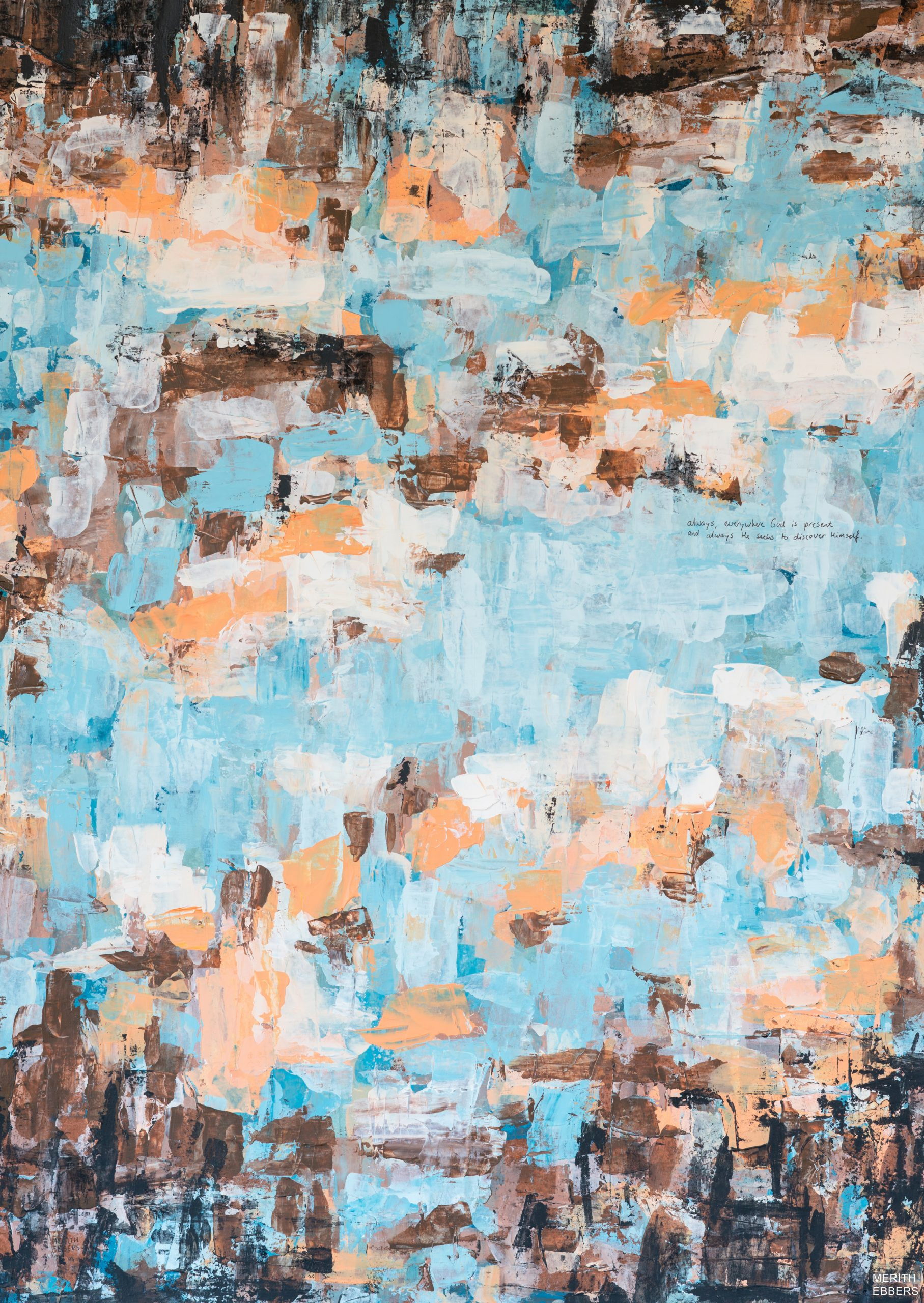 A painting of an abstract sunset in brown, orange and blue colors