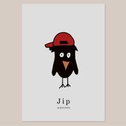 Hat Bird Geboortekaart design pet rood jongen