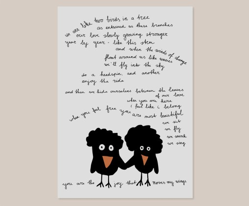 A Couple of Birds | Wall Art Print | Poster | Design | Slaapkamer | Muurdecoratie | Simpel | Zwart Wit | Vogels | Gedicht | Liefde