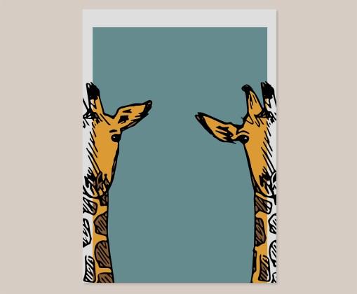 Giraf   Wall Art Print   Poster   Lijntekening   Design   Kinderkamer   Muurdecoratie   Kunst aan de muur   Dieren   Blauw   Oranje
