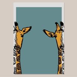 Giraf | Wall Art Print | Poster | Lijntekening | Design | Kinderkamer | Muurdecoratie | Kunst aan de muur | Dieren | Blauw | Oranje