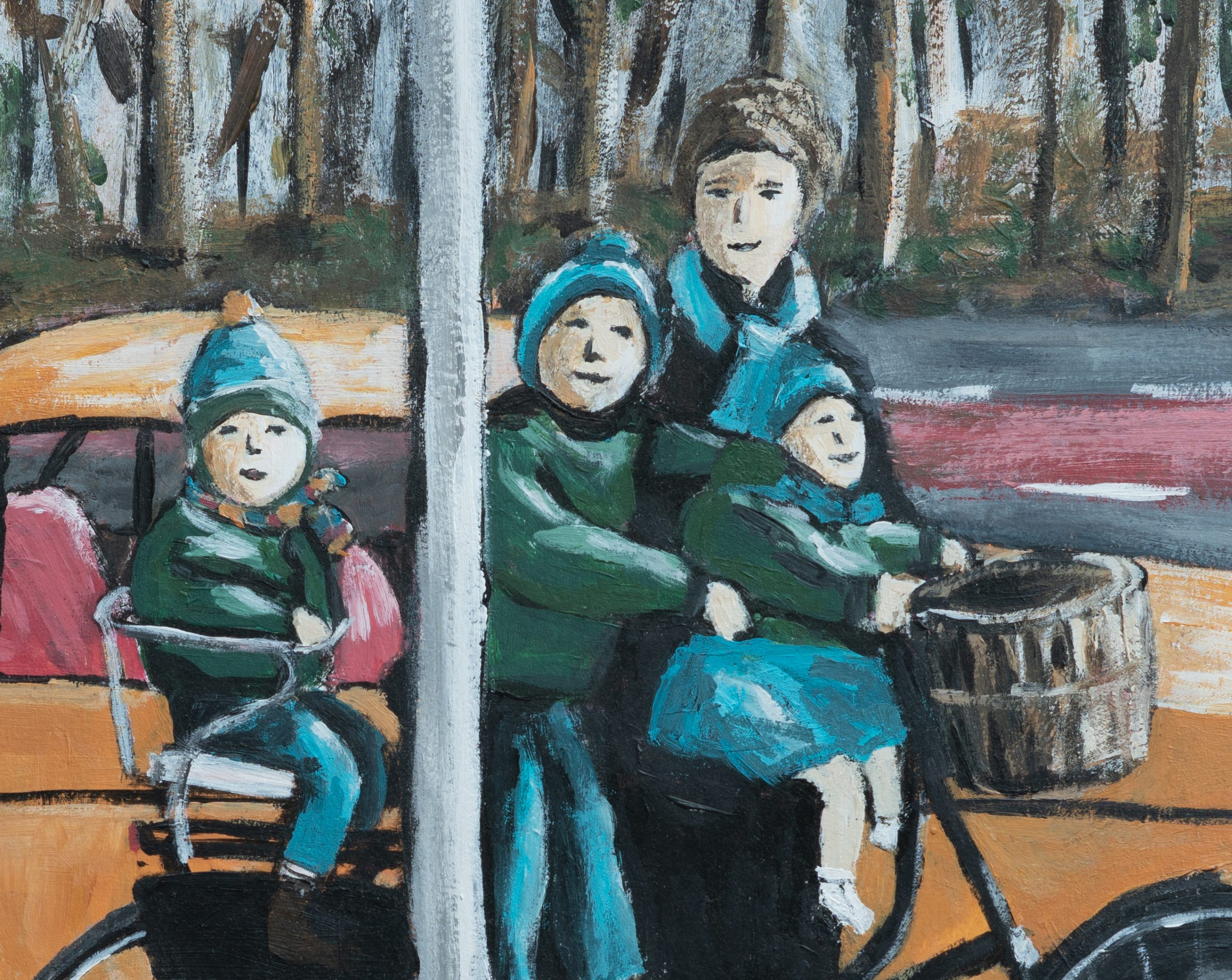 Lookin in Painting on mom and kids on bicycle in winter