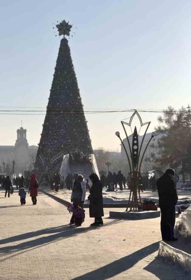 ice slide and christmas tree Kirov Square - Irkutsk