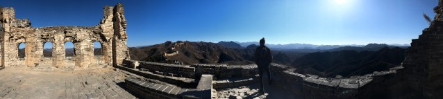 Panoramic view of a crumbling watch tower on the Great Wall of China 3 days in Beijing www.thedancingcircustraveller.com