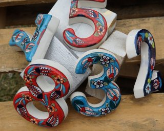 Ceramic coloured decorative house number mixed colour stacks of numbers