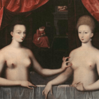 Two Sisters in a Bath Pinching Nipples