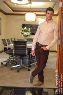 fall color burgundy corduroy with J Crew shirt
