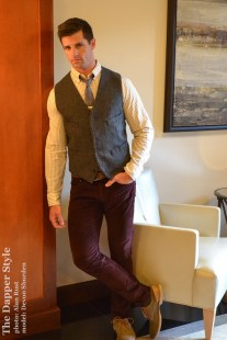 fall burgundy corduroy with menswear vest