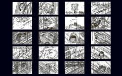 Storyboard della scena della doccia in Psycho.