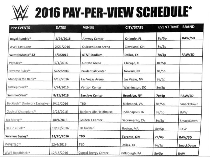 Potential Leaked WWE PPV Schedule