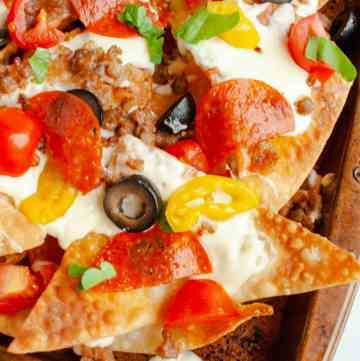 Italian nachos on a sheet pan