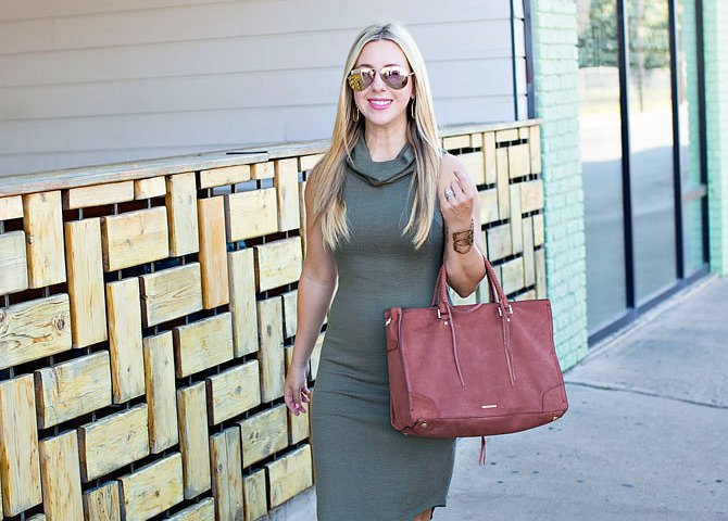 Olive Geen Cowl Neck Dress