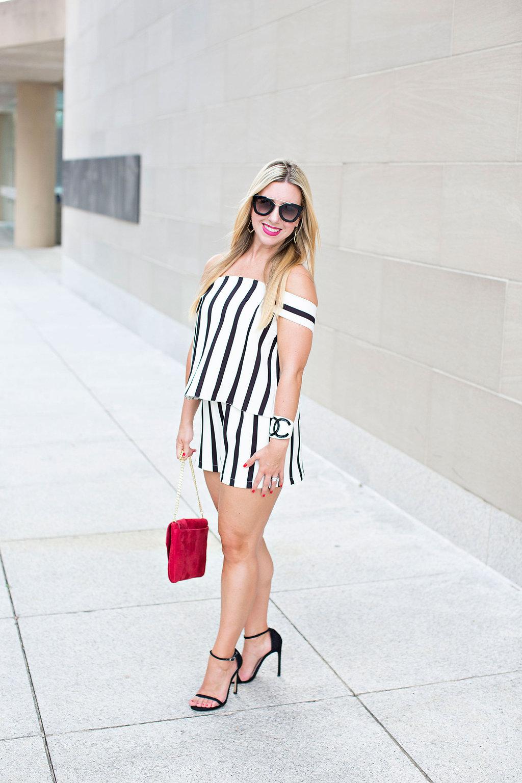 Striped Romper - Red Purse- Fashion Blogger