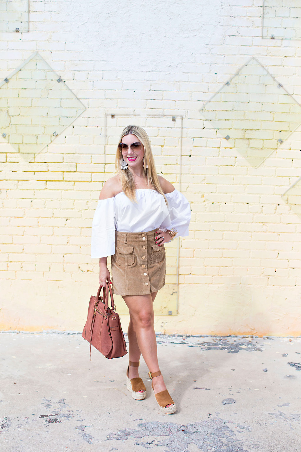 Off the shoulder white bell sleeve top