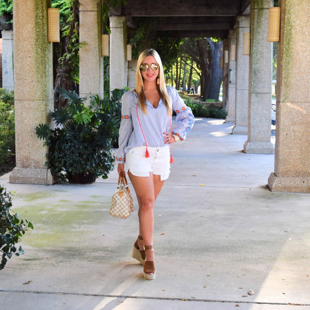 Summer Tunic - Tory Burch- denim shorts- Nicole Kirk - Fashion Blog