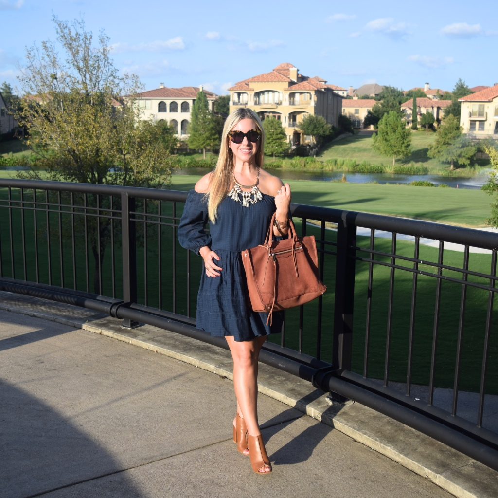 Navy Off The Shoulder Dress- Nicole Kirk - Dallas