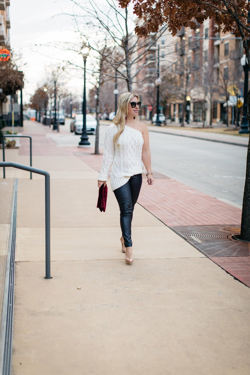 One Shoulder Cable Sweater