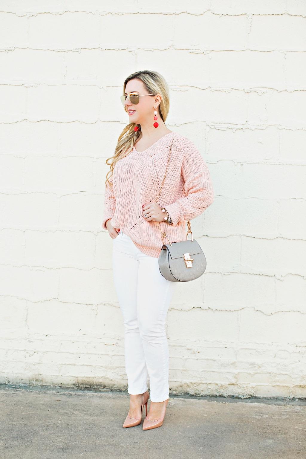 Pink Geometric Knit Sweater | Nicole Kirk | The Darling Petite Diva