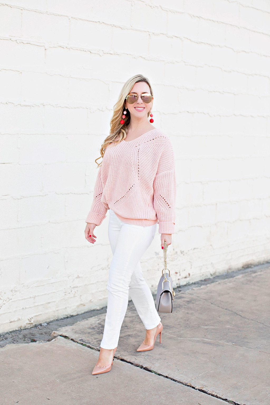 Pink Geometric Knit Sweater | Nicole Kirk | The Darling Petite Diva