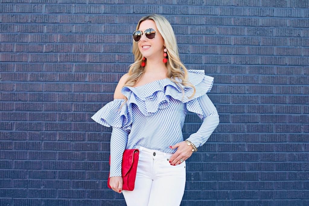 One-shoulder Ruffle Striped Top | Nicole Kirk | The Darling Petite Diva