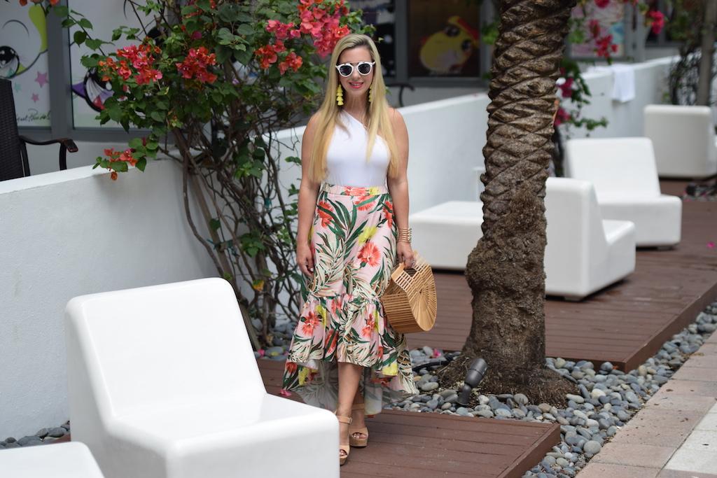 Palm Print Midi Skirt with Ruffle | The Darling Petite Diva | Nicole Kirk