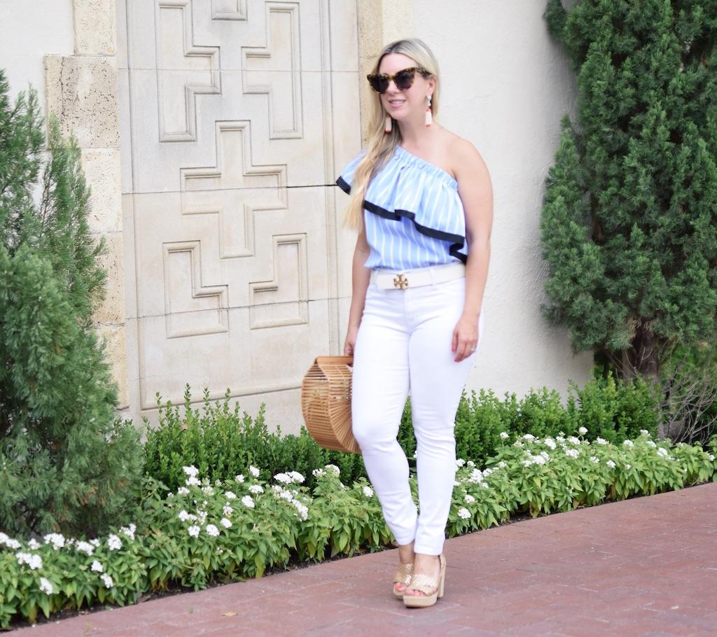 Blue & White Striped One Shoulder Ruffle Top| The Darling Petite Diva Blog | Nicole Kirk
