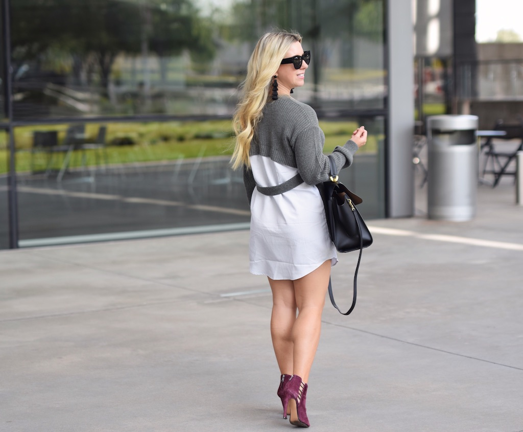 Faux Shirt Sweater Dress | Fall Sweater Dress | The Darling Petite Diva