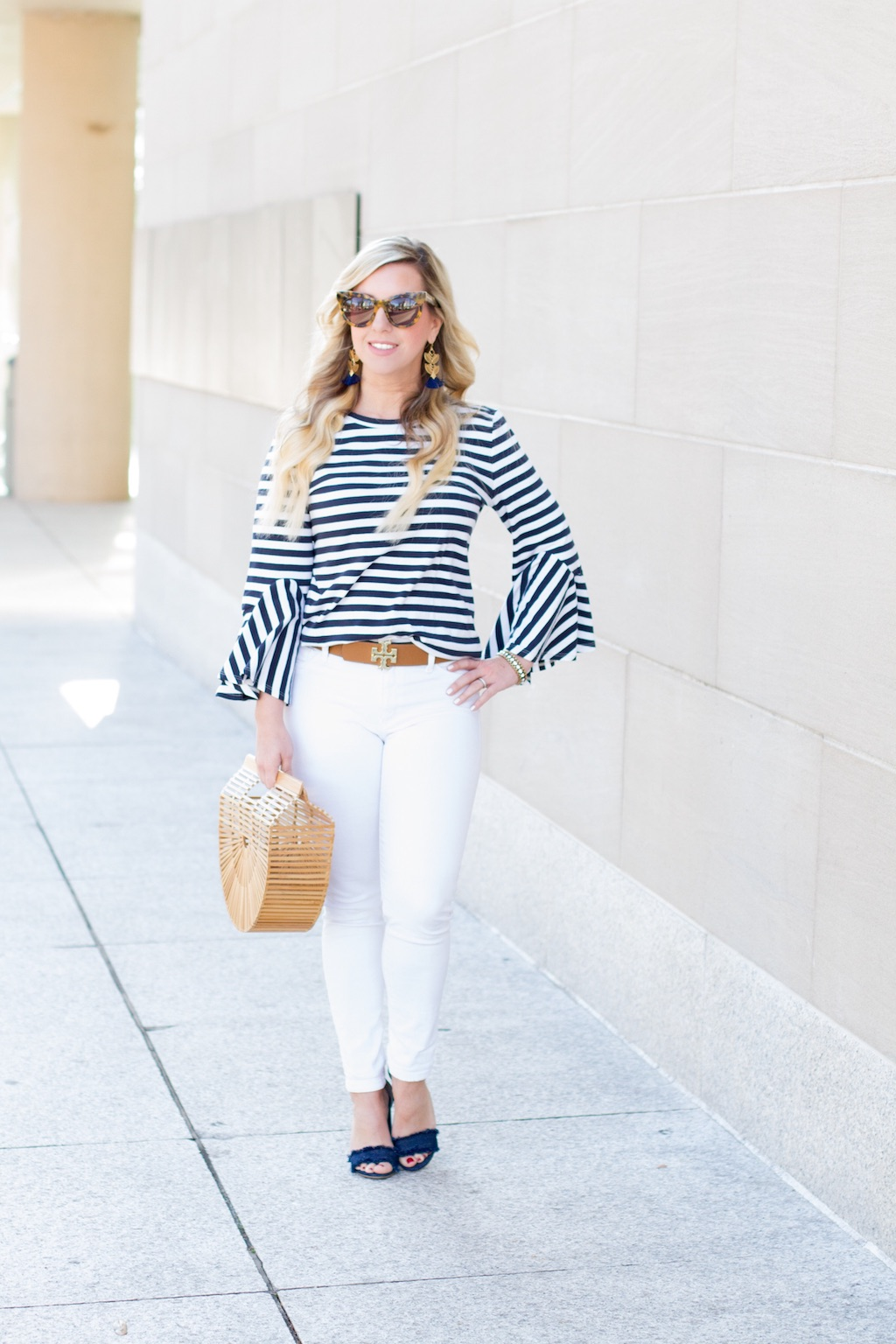 Striped Cuff Bell Sleeves | Spring Look | The Darling Petite Diva