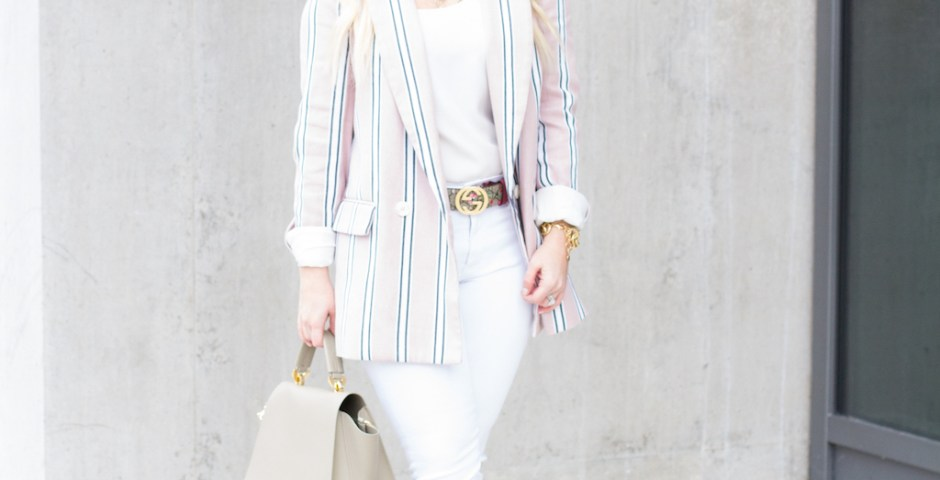 Pink Stripe Spring Blazer | The Darling Petite Diva