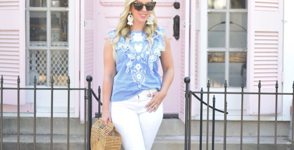 Now I've found this Gingham print top with eyelet ruffles. I just love the blue and white print with eyelet ruffled detailing.