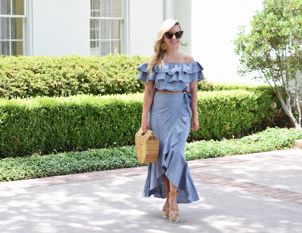 Ruffled Chambray Two Piece Set
