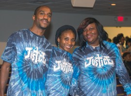 "March 14, 2016 MARLENE QUARONI | FC Evan Allen, Terrica Allen and Sharon Henley of St. Peter Missionary Baptist Church proudly show their ""Justice"" T-shirts at PACT's Nehemiah assembly. Members of PACT rally for affordable housing and juvenile justice reforms at their Nehemiah Assembly."