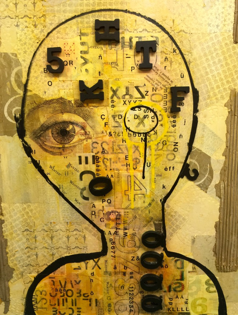 "Dyslexia, 2 (Dyptich) 20""x28"" mixed media AVAILABLE"