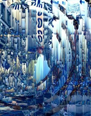 """""""New York Raining"""" Glitch digital collage City Series 2015 #ThedaSandiford #glitch"""