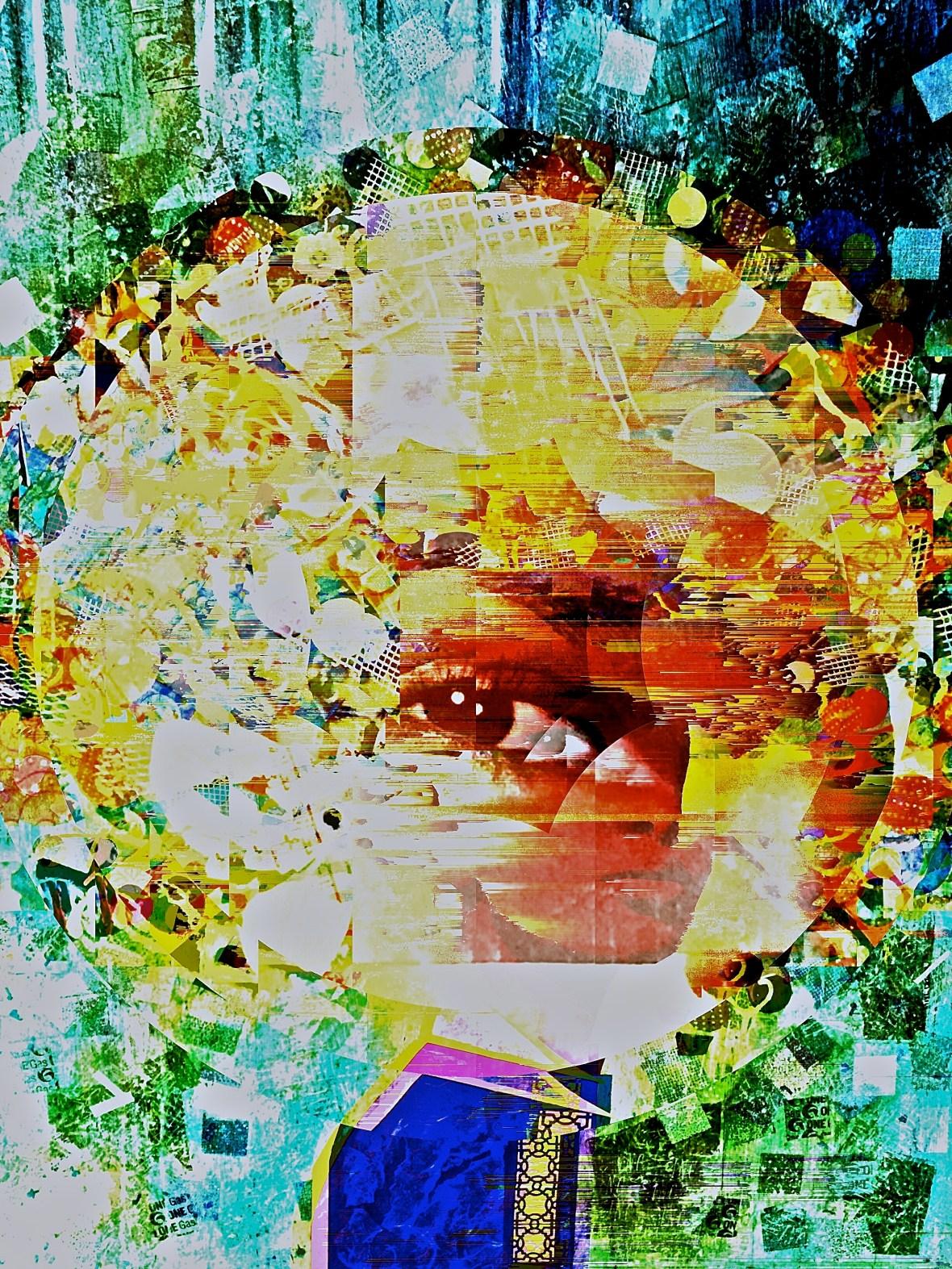 """""""Monocle"""" digital collage """"Super Selfie: Joy"""" Series"""