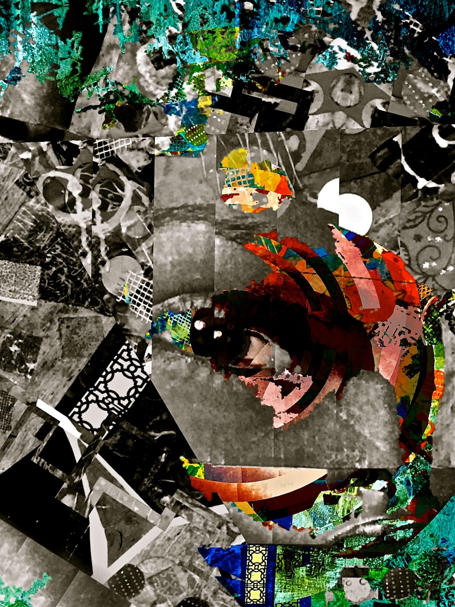 """Ocular Implant"" digital collage ""Super Selfie: Joy"" Series"