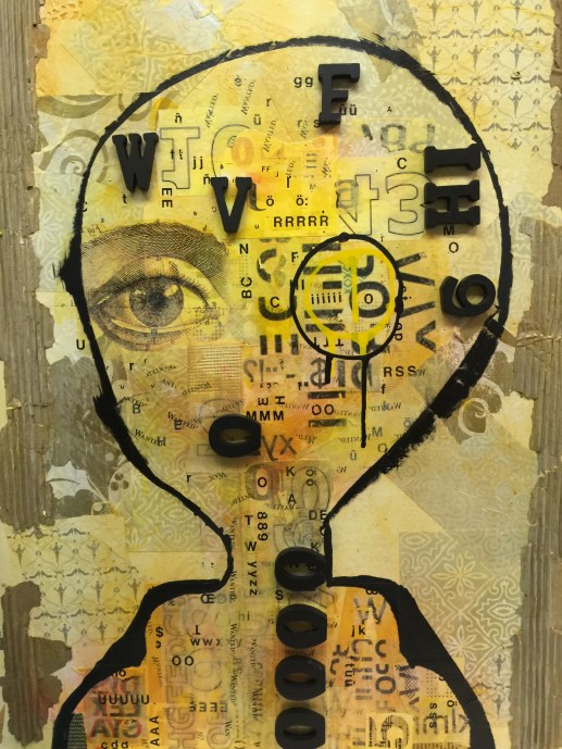 """22""""x28"""" mixed media assemblage of acrylic paint, handmade paper, newsprint, stencils, tissue paper, cardboard, wood letters, print lettering."""