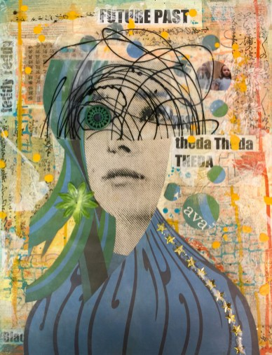 """""""Future Past""""20"""" x 16"""" x 1"""" Medium: Acrylic paint, acrylic skin, tissue paper, thai paper, sheet music, posterboard, xerox copies, glitter, silk flower, bead. One of five canvases in response to being asked to """"Dim your light"""" so less dynamic people are not threatened"""" by me. This is my Mona Lisa smile white girl mask."""