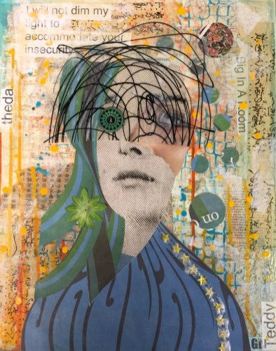 """""""Big In A Room"""" 20"""" x 16"""" x 1"""" Medium: Acrylic paint, acrylic skin, tissue paper, thai paper, sheet music, posterboard, xerox copies, glitter, silk flower, bead. One of five canvases in response to being asked to """"Dim your light"""" so less dynamic people are not threatened"""" by me. This is my Mona Lisa smile white girl mask."""