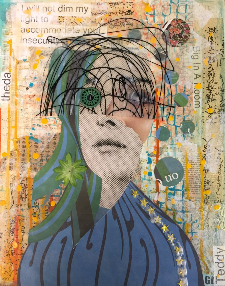 """Big In A Room"" 20"" x 16"" x 1"" Medium: Acrylic paint, acrylic skin, tissue paper, thai paper, sheet music, posterboard, xerox copies, glitter, silk flower, bead. One of five canvases in response to being asked to ""Dim your light"" so less dynamic people are not threatened"" by me. This is my Mona Lisa smile white girl mask."