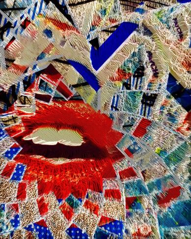 """Neon Auto Tune"" Theda Sandiford Digital Collage on Metallic Photo Paper, AP 14""x11""m 20""x16"" framed"