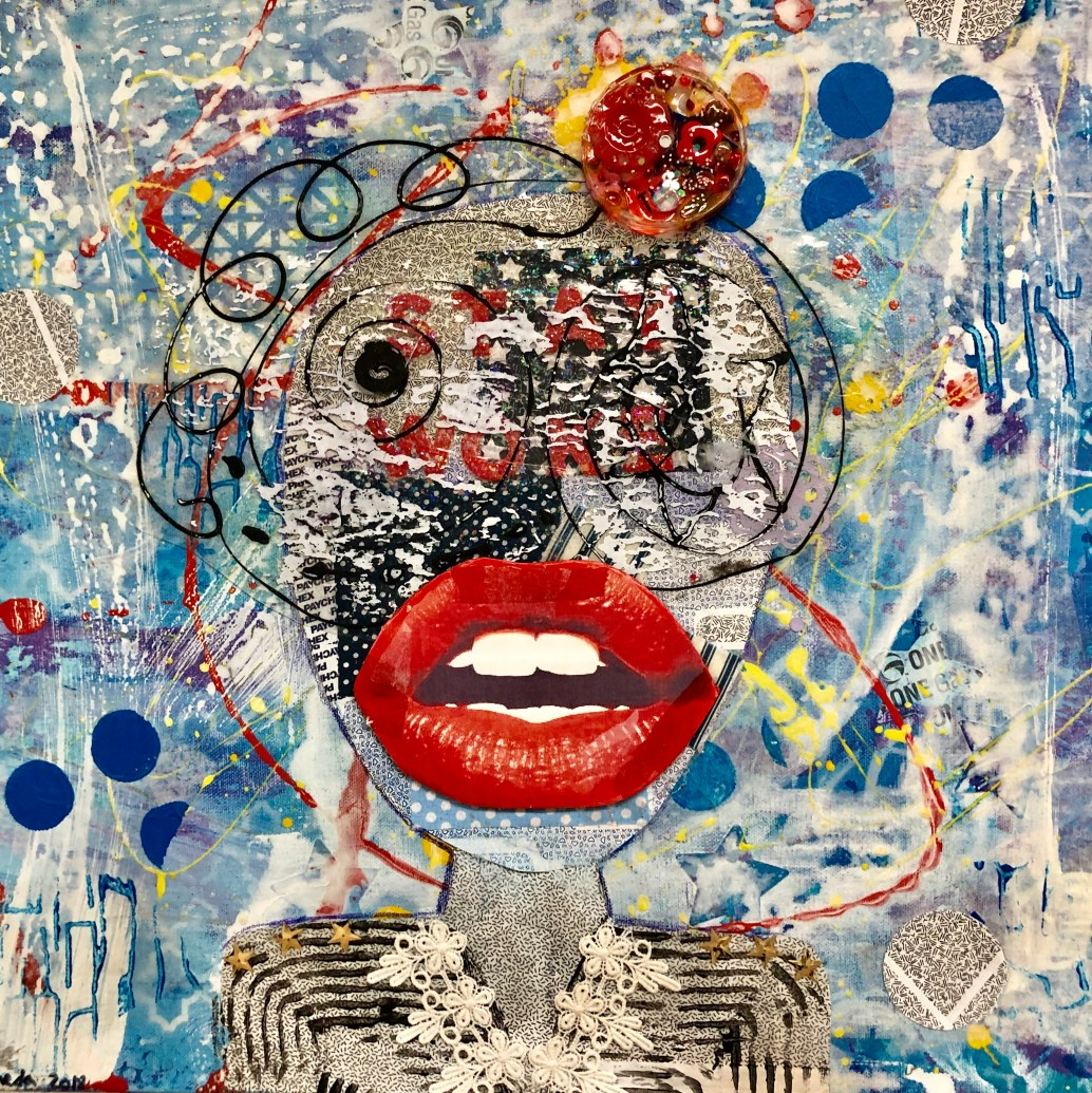 """Stay Woke"" Theda Sandiford Golden High Flow acrylic, Golden Soft Gel Gloss acrylic skin, Tulip dimensional fabric paint, gesso, Montana Gold spray paint, recycled envelops, fabric squares from a quilt, tissue paper, felt from post consumer recycled fibers, glitter stars on canvas. 20""x20""x1"""