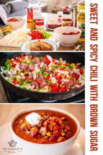 Three images. Ingredients needed for chili, meat and vegetables cooking in pan and bowl of completed chili ready to eat.