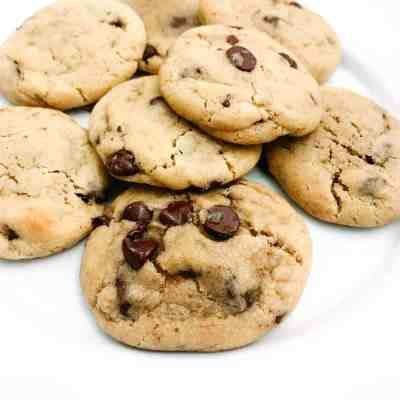 Close up of cookies, warm and fresh from the oven.