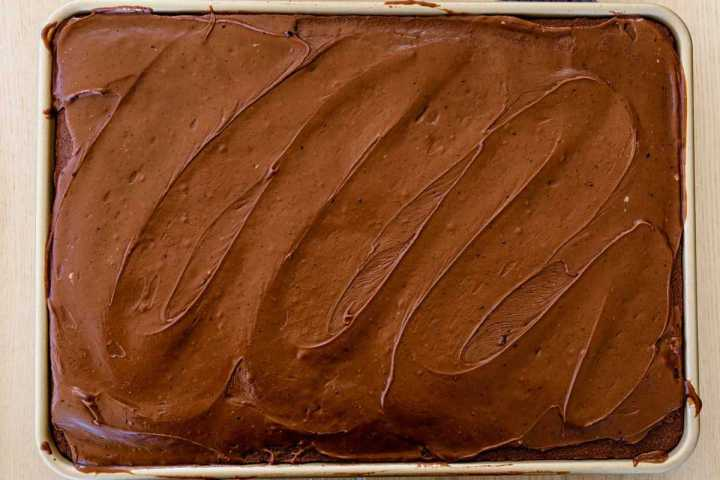 Fresh chocolate frosting is spread over a moist chocolate cake, waiting to be sliced.