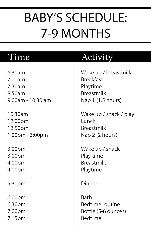 8 Month Schedule : month, schedule, Darling, Luna's, Sample, Schedule:, Months