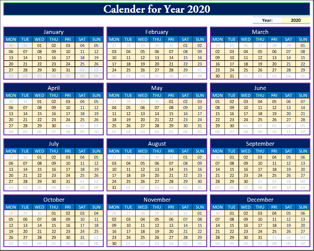 How To Make Fully Dynamic Calendar For In Excel