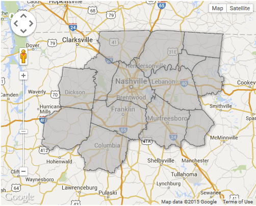 Interactive map of counties in the Nashville MSA