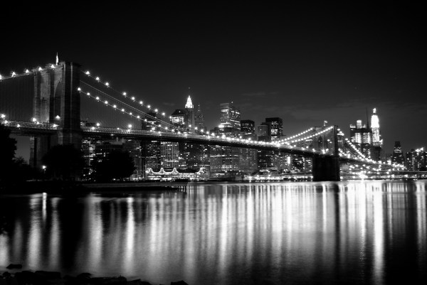 New York Brooklyn Bridge Black and White